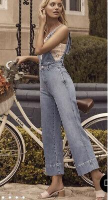 Vintage Overalls & Jumpsuits Free People Overalls Denim Jumper Wide Leg Overalls Women's Size 6 $44.95 AT vintagedancer.com