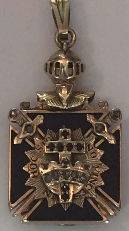 Antique Masonic Knight 32nd Degree Diamonds Onyx 14K Gold Pendant Medallion