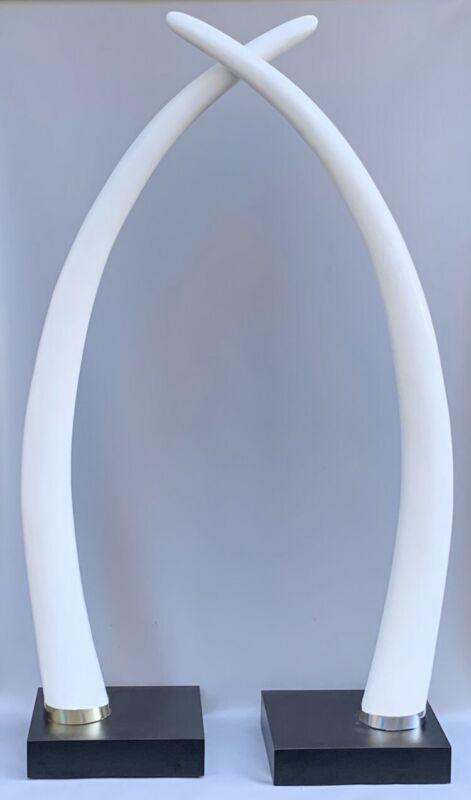 MONUMENTAL PAIR OF VINTAGE 1970'S LIFE-SIZE FAUX ELEPHANT TUSKS