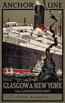 Anchor Line Glasgow New York Londonderry Schifffahrt Reederei Plakate A3 273