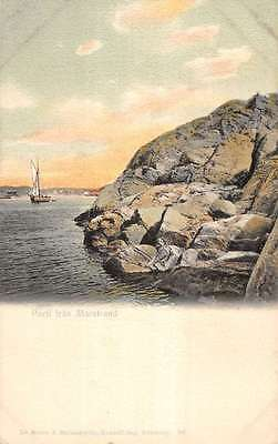 View of Marstrand Sweden Along the Water Antique Postcard L970