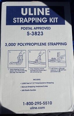 New Uline Polypropylene Strapping Kit S-3823 Postal Approved 12 X 3000