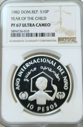 1982 DOMINICAN REPUBLIC SILVER 10 PESOS YEAR OF THE CHILD NGC PF 67 ULTRA CAMEO