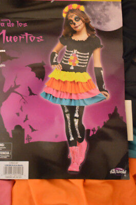 Girl's Dia de los Muertos Day Of The Dead 4 Pc Halloween Costume Outfit L(10-12) (Dead Girl Costumes Halloween)