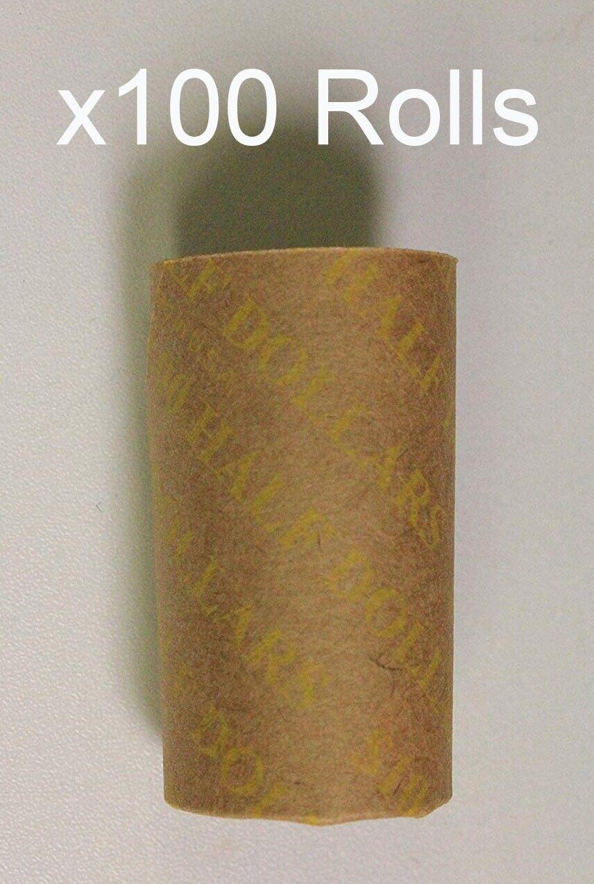 100 Half 1 2 Dollar Preformed Coin Rolls Paper Wrappers 1 Bag