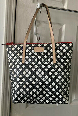 Kate Spade Large Tote Shoulder Bag Black & White Sweet Spade Pattern