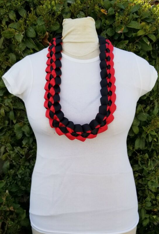 Red and Black Graduation Lei Wide Ribbon Lei Birthday Ready2Ship