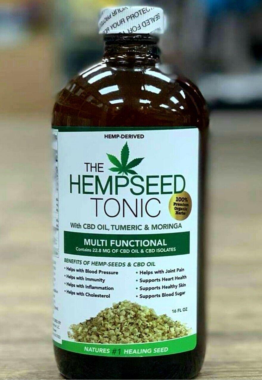 Organic Hemp Seed Tonic with Moringa and Turmeric 16oz