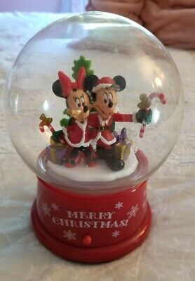 Musical Plastic Snow Globe Disney MICKEY & MINNIE MOUSE CHRISTMAS COLLECTIBLE