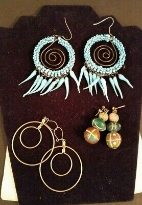 Vintage Earrings Lot 3 Sets Dream Catcher Steam Punk Costume Jewelry Estate Sale
