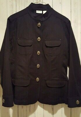 New Chico's Women's Black Career Jacket with Turn Key Closure size 1
