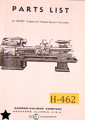Hendey 12 18 Speed Geared Head Lathe Parts Manual