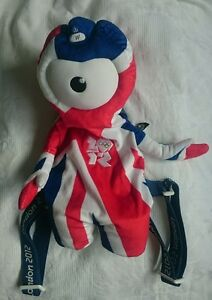Official Product London 2012 Mascot Wenlock Union Jack Soft Toy Rucksack Bag BN
