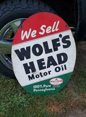 "Vintage WOLFS HEAD Motor Oil Original 30"" Double Sided Metal Sign NICE"