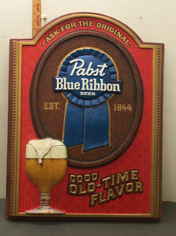 "Vintage Pabst Blue Ribbon Molded Plastic Sign ""Good Old Time Flavor"" Nice Piece"