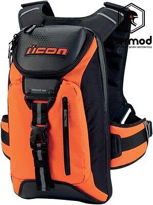Icon Squad 3 Motorcycle Backpack Rucksack Bag - Fluo Orange