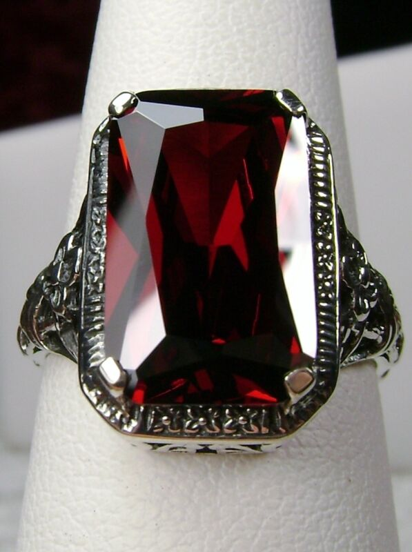 6ct Red Garnet CZ Solid Sterling Silver Floral Filigree Ring (Made To Order)