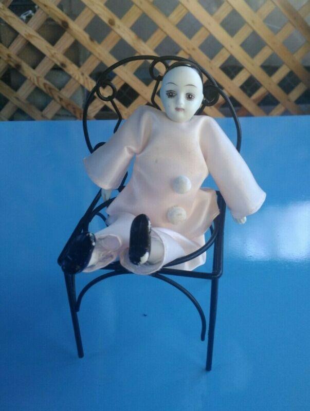 Vintage Antique Harlequin Jester Clown Bisque Porcelain Doll Collectors Figurine