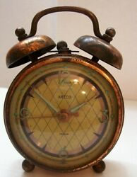 Vintage 1940s Artco Copper Radium Luminous Alarm Clock Germany
