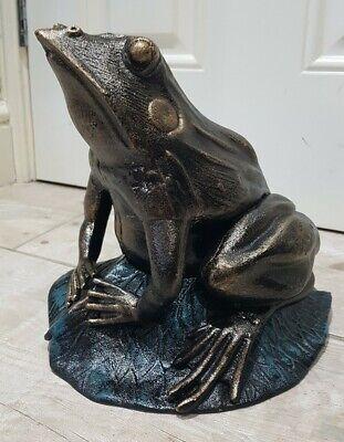 Cast Iron Frog on Lotus Leaf 27cm Bronze Home Garden Gift