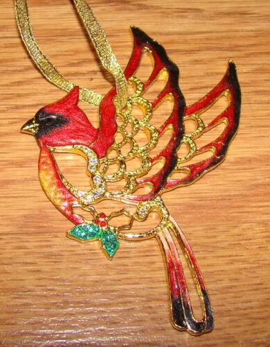 Cardinal Ornament (Double-Sided, 3683) Baked Enamel, Australian Crystals