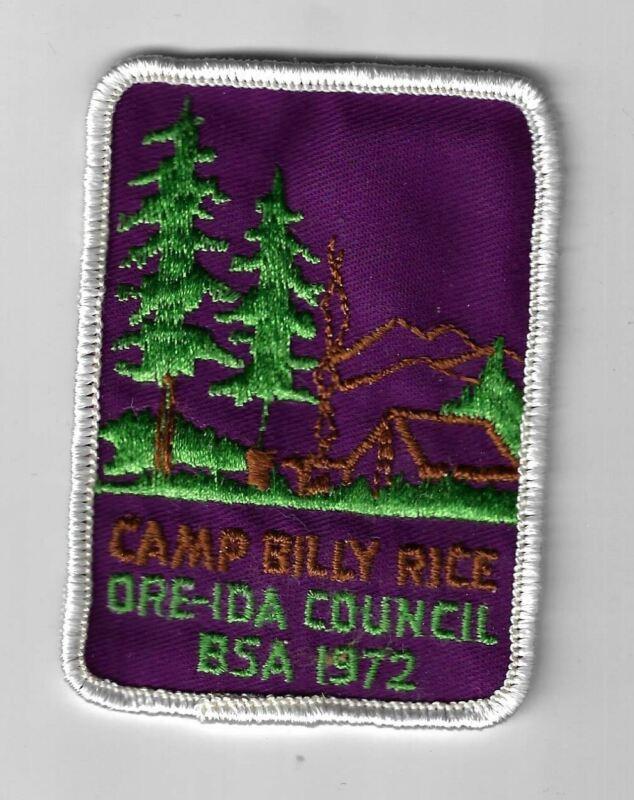 1972 Camp Billy Rice Ore-Ida Council, BSA WHITE Border [MX-5125]