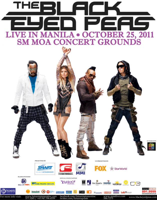 """BLACK EYED PEAS """"LIVE IN MANILA"""" 2011 PHILIPPINES CONCERT TOUR POSTER - Hip Hop"""
