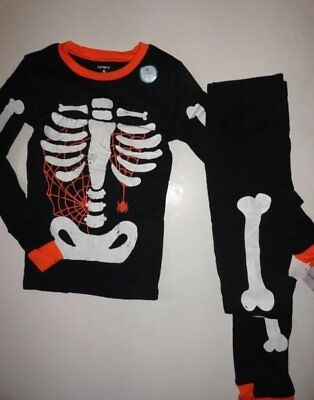 NWT Carter's Kid Boy 12 Halloween Skeleton Spider Glow-in-the-Dark Pajamas Black](Glow In The Dark Skeleton Pajamas Boys)