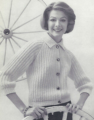 Vintage Knitting PATTERN to make Basic Short Cardigan Sweater Jacket BasicCardig Basic Sweater Knitting Pattern