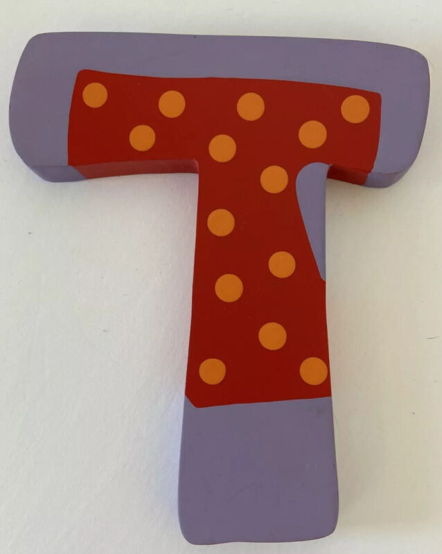 """Tatutina Wooden Letter Decorative Wall Hanging Letter """"T"""" IMPERFECT See Descript"""
