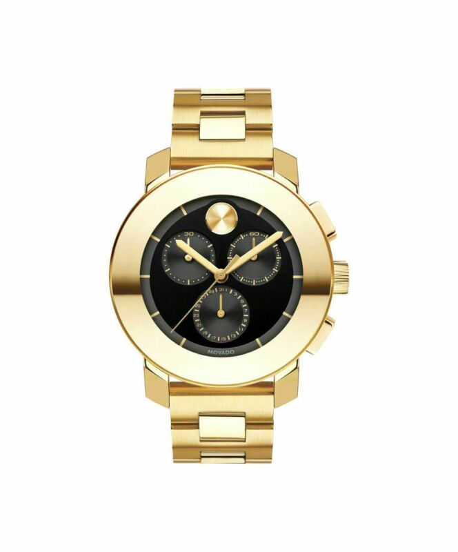 Movado Bold Gold Tone With Black Dial Chronograph Unisex Watch (3600359)
