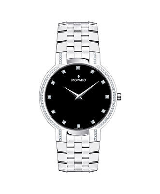 Movado Faceto 0606237 Quartz Black Dial Stainless Steel Band Mens Watch