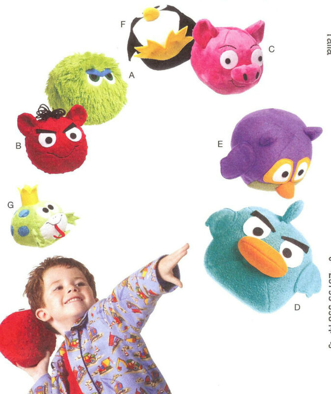 PATTERN to Make Your Own Angry Movie Animals McCalls 6481 Birds Pig Penguin Frog