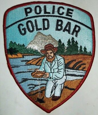 Gold Bar City Washington Police Patch Sew On River Mountain Forest Water Man NEW