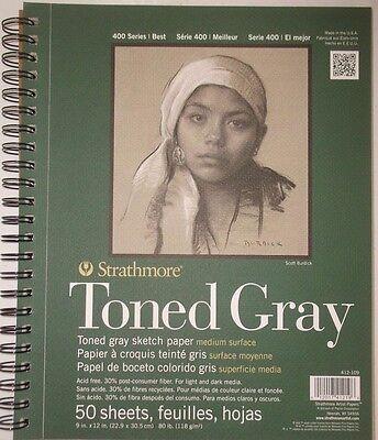 "STRATHMORE TONED GRAY MEDIUM SKETCH PAPER 80 LB 50 SHEETS 9 X 12"" 400 SERIES NEW"