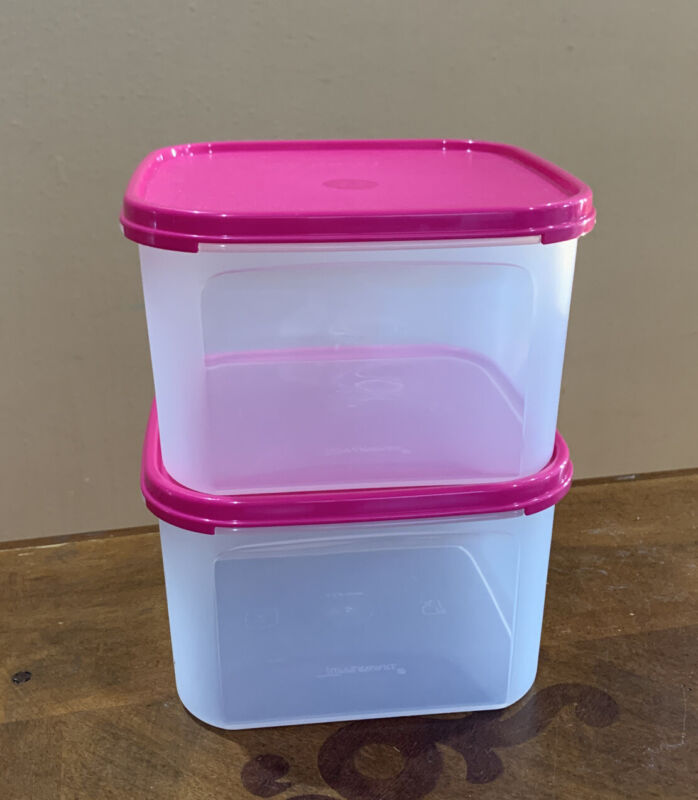 NEW TUPPERWARE MODULAR MATES SQUARE 2-PC SET-IN CLEAR / PINK SEALS COLOR !!!