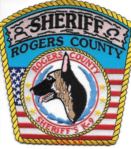"Rogers Co. Sheriff  K-9 Unit, OK (5"" x 5.25"" size) shoulder police patch (fire)"