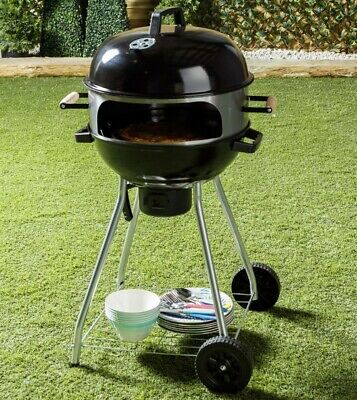 """Flamemaster Kettle 18"""" BBQ with Pizza Oven Extension Barbeque Garden Accessory"""