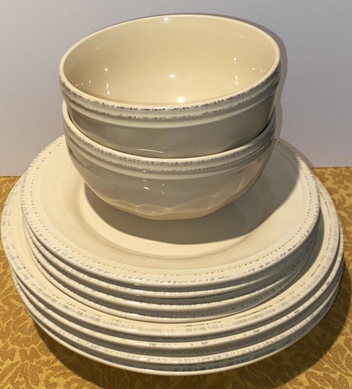 Rachael Ray Cucina Almond Cream 4 Pasta Bowls 4 Salad Plates 2 Cereal Bowls