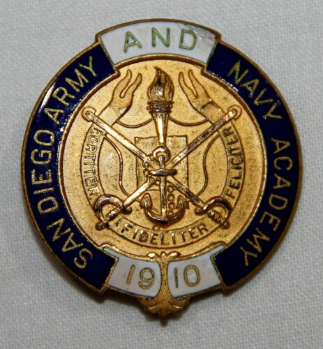 VINTAGE SAN DIEGO ARMY AND NAVY ACADEMY 1910 PIN, MADE BY ROBBINS CO.