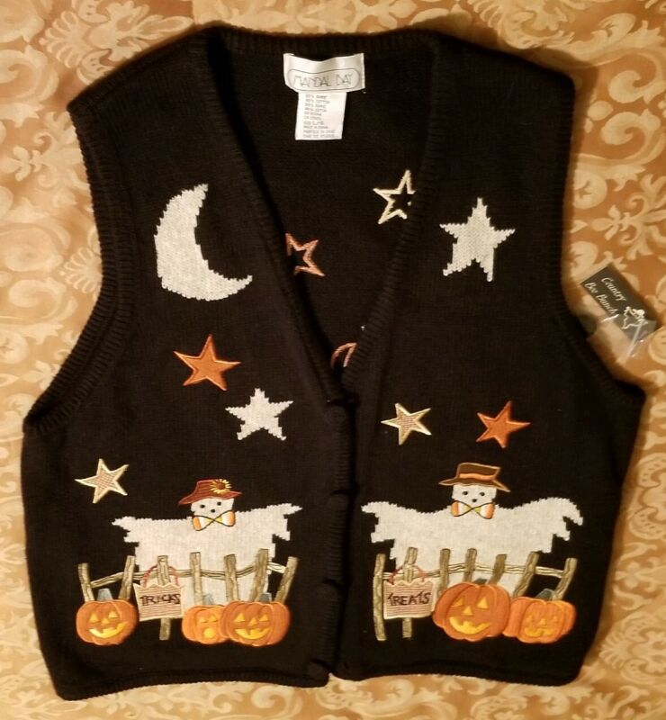 Ugly Halloween Sweater Vest Ghosts Pumpkins Nwt