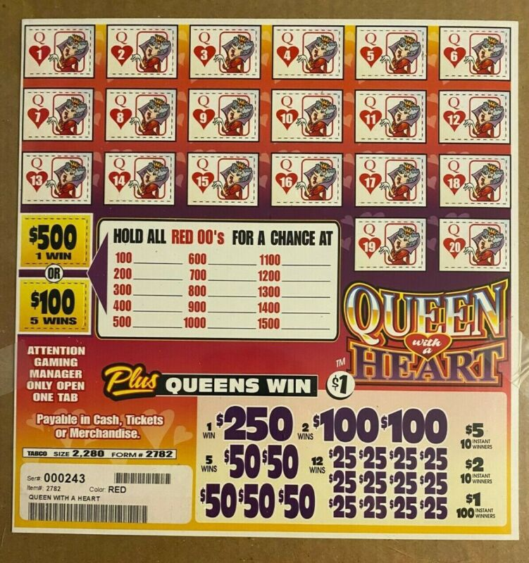 Queen With A Heart $610 Profjt Bingo Pull Tab