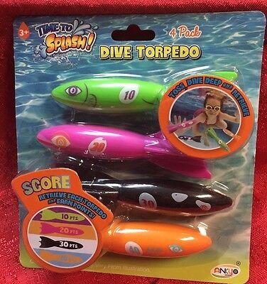 4pk DIVE TORPEDO ~ Rocket Pool Toys Bright Colors - Kids Summer Fun - Dive Toys