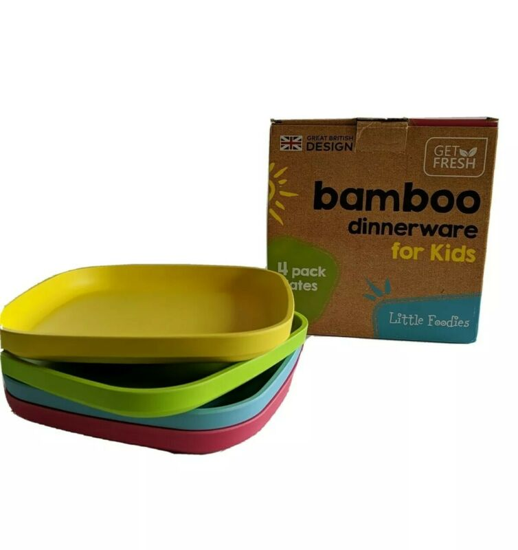 Bamboo Kids Plates, 4 Pack Set, Stackable Bamboo Dinnerware for Kids, Bamboo