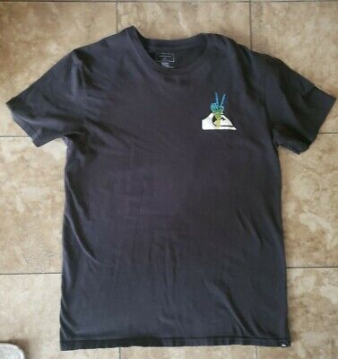 Mens Quiksilver short sleeve t shirt 100% cotton black size medium M