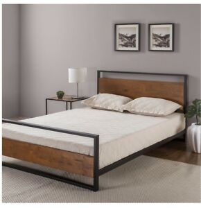 Zinus Ironline Full/Double Metal and Wood Bed Frame