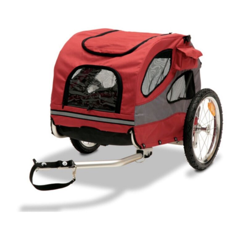 PetSafe Happy Ride Aluminum Dog Bicycle Trailer, Red, Medium