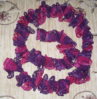"New Red Heart Yarn Hand Crochet Ruffle Scarf in Red Dark Red Color 80"" Long"