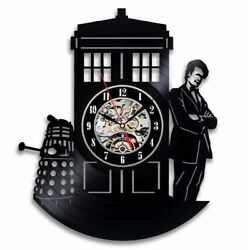 Doctor Who Serial LP Retro Vinyl Record Wall Clock Vintage Handmade Gift For Fan
