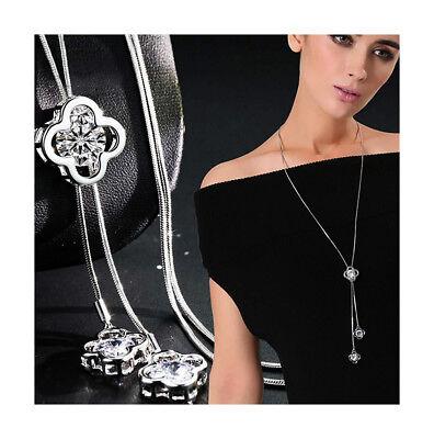 Nataliya Silver Four Leaf Clover Long Sweater Chain Crystal Pendant (Silver Four Leaf)